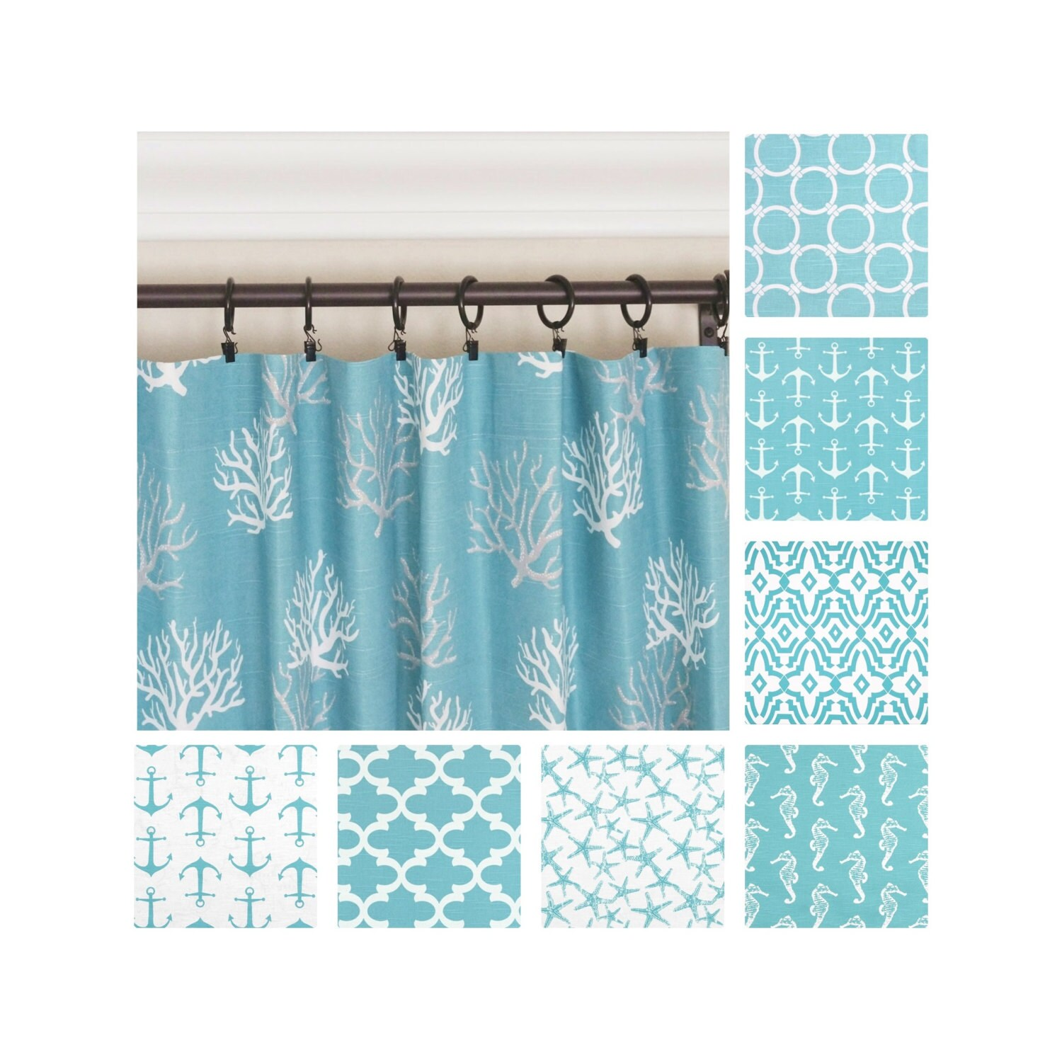 Blue Green Kitchen Curtains: Aqua Curtains.Blue Window Curtains.Nautical Curtains.Kitchen