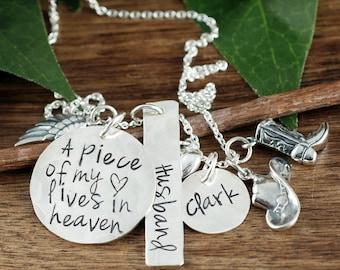 Memorial-Cowboy-Halskette, lebt ein Stück von meinem Herzen im Himmel, Personalisierte Halskette, Erinnerung Halskette, Verlust von Ehemann, In Erinnerung an