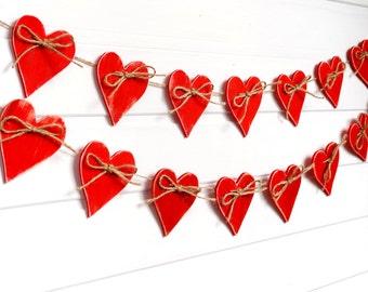 Valentine garland Wood heart Garland Valentines day decor Wedding garland Valentine banner Bridal shower Love garland 24 red heart garland