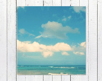Large Ocean Art | Ocean Photography | Beach Photography | Turquoise + White Coastal Decor Prints | Loquillo Puerto Rico Wall Decor Art Print