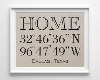 Home Latitude Longitude | 100%  Linen Print | GPS Coordinates Sign | Personalized Housewarming Gift | New House Home Coordinates