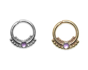 2mm Amethyst Septum Jewelry Gold 14g / Nipple Ring, Nose Ring, Daith Ring / Septum Ring, Tragus Earring, Cartilage Earring, Septum Piercing