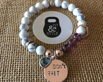 Rose Gold & Marble Do It Dont Quit Inspiration Bracelet - fitness bracelet - inspiration bracelet