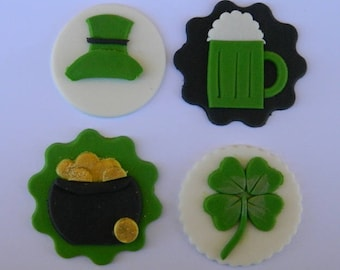 12 edible assorted ST PATRICKS DAY hat beer pot gold clover cupcake irish shamrock cake topper decorations wedding anniversary birthday