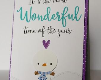 Christmas card, holiday card, christmas card, winter card, winter holiday card, snowman card, children card, handmade card