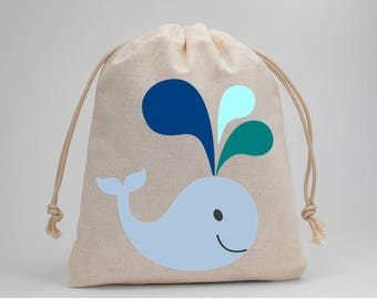 Whale, Baby Shower, Baby Boy, Blue, Party Bags, Muslin Bags, Candy Bags, Treat Bags, Favor Bags, Fabric Bags, Goodie Bags, 5x7