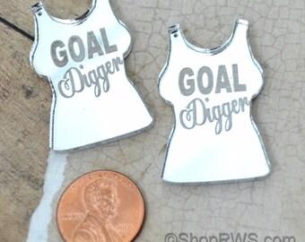 GOAL DIGGER - Silver Mirror T Shrit Charms - Laser Cut Acrylic