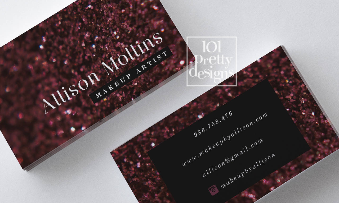 Burgundy glitter business card sparkling makeup artist