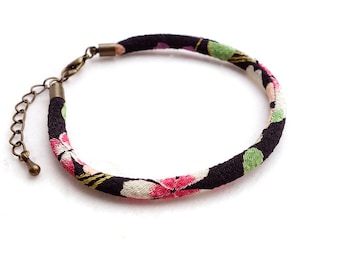 Glamorous Black Kimono Bracelet/Anklet / Single Japanese chirimen cord - Flower green pink red purple black - HITOE -