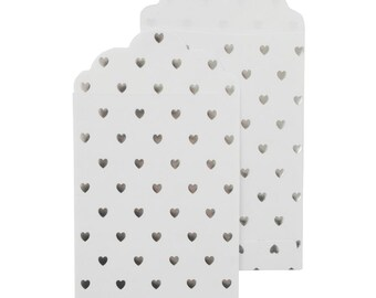 Gift and Love Note Envelopes, Set of 6 - 3.5 x 5.25 Inches with Metallic Silver Hearts