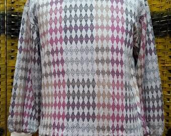 Vintage JANTZEN knitwear / plaid designed knitewear / sweatshirt / medium size
