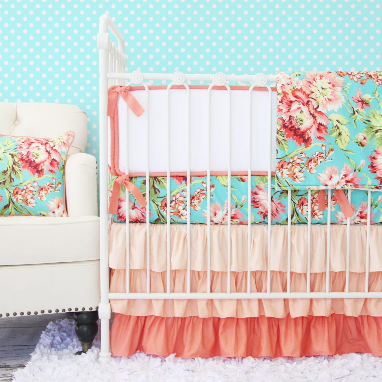 Coral Camila Ruffle Baby Bedding Set Crib set Coral Teal