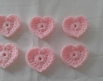 6 SMALL PINK CROCHETED Heart Appliques Embellishments Valentines Scrapbook Sew On Glue