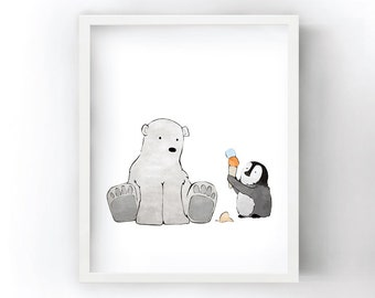 Arctic Animal Nursery - Polar Bear and Penguin Sharing some Ice Cream