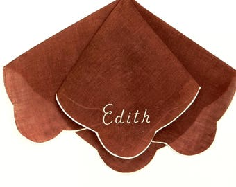 Ladies Handkerchief Edith Embroidered Chocolate Brown