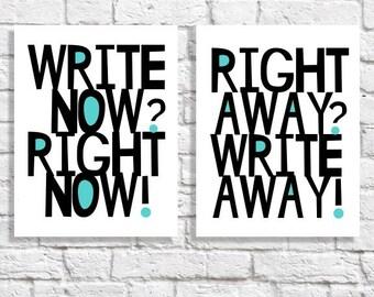 Write Away Write Now Art Print Set Creative Writing Student Aspiring Novelist Fiction Author Gift Writer Office Wall Art Inspiration Poster