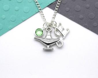 Personalized Magic Genie Lamp Charm Necklace, Aladdin, Arabian Nights Jewelry Customized, Personalised Swarovski Birthstone & Name Gift