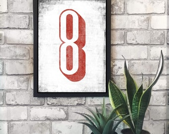 Distressed Number print // Wall Art // Home Decor