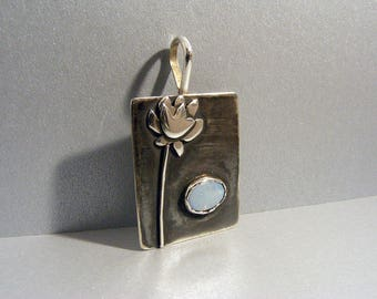 Water lily lotus flower with opal cabochon blackened silver pendant