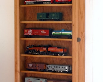 N Scale Model Train Display Case Wall Cabinet