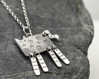 Sterling Silver Swinging Tail Cat Necklace