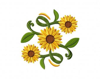 Decorative sunflower machine embroidery design
