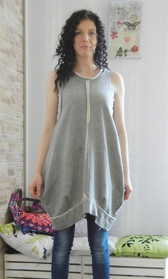 Balloon Avant Garde All seasons pinafore Dress/ Loose Oversized Grey pinafore dress / Clubwear / Party Wear / Flattering pinafore dress