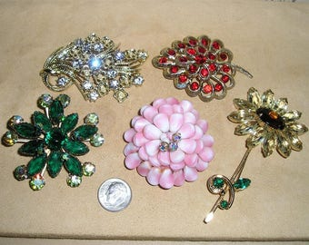 Vintage Lot Of Five Rhinestones And Pink GLass Brooches Pins Priced To Sell 1950's-60's Priced To Sell Jewelry Lot 3063