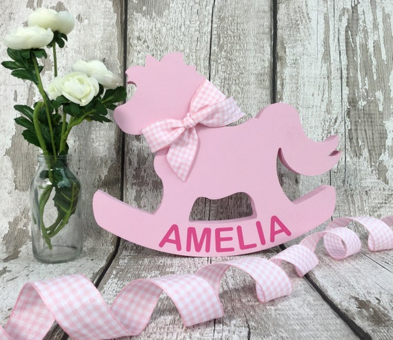 Personalised baby gift rocking horse new baby girl gift negle Gallery
