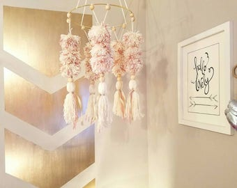 Bohemian Baby Mobile, Pom pom Mobile, Tassel, Boho Nursery Decor, Baby Girl Room, Tribal Room, Safari Chic, Gold, Pink, Neutral, new baby