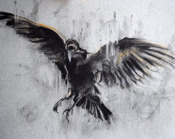 Original Charcoal Drawing Flying Crow Black and White Art 12x8""