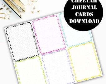 Cheetah Print Journaling Card Printable / Journal Cards / Scrapbook Kit / Journaling List / Listers Gotta List / Instant Download 00069