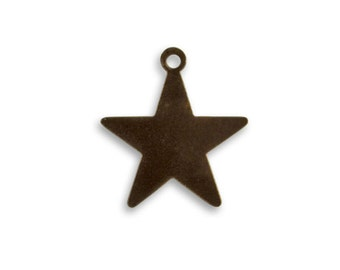 4 pieces tiny Star Tag Altered Blank, Vintaj Natural Brass Item DP0500, 19mm Star Blank, Star Stamping Blank