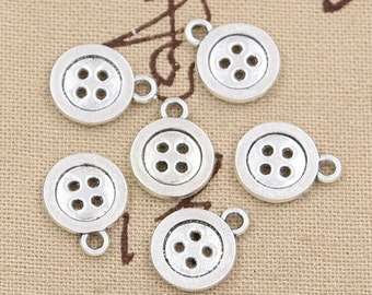 10 Button Charms Antique Silver Tone Sewing Charms Seamstress Sewing Machine Needle and Thread Charm Bracelet Bangle Bracelet Pendants #227