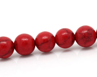 50 Beads - 8mm Red Turquoise Imitation Dyed Round Beads - 15.75 inch strand
