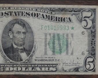 1934-C 5 Dollar FR Note Green Seal Star Note- Atlanta