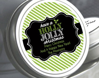 """12 Personalized Holly Jolly Christmas Mint Tins Favors - Need a different quantity? Click on the """"choose total"""" tab to see all pricing"""