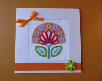 Hand embroidered card: modern stylized flower