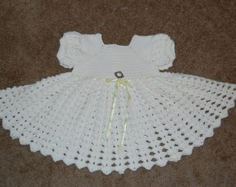 Crochet Infant Dress White Acrylic with pearl button 6-9 mos