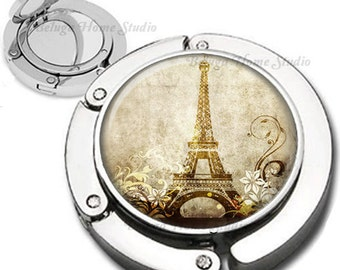 Eiffel Tower with Flourishes Swirls in Sepia Purse Hook Bag Hanger Lipstick Compact Mirror