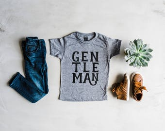 Gentleman Youth and Toddler Tee • Unique Modern Gentleman Style for Kids • Vintage Inspired Gray & Black Graphic Boys Tee •FREE SHIPPING