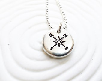 Compass Necklace - Personalized Jewelry - Graduation Gift - Destination Wedding - Hand Stamped Personalized Necklace - Traveler's Gift