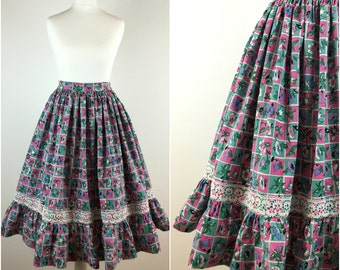 Vintage 1950s Skirt - 50s Cotton Floral Swing Skirt - 1950s Circle Skirt - Full Skirt - Rockabilly Pinup - Small - UK 8 / US 4 / EU 36