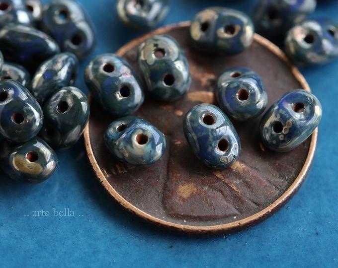 DENIM HOOTS .. NEW 50 Premium Picasso Czech Glass Super Duo Seed Beads 5x2.5mm (6382-50)