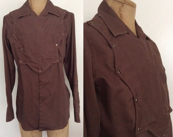 1960's Brown Western Pearl Snap Button Up Vintage Shirt Size Medium by Maeberry Vintage