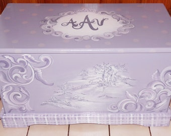 Custom Hope Chest or toy box with a verse of your choice on inside of lid, monogramed or personalized with name on top
