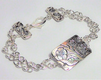 Cherry Blossom Fine Silver and Sterling Silver Bracelet