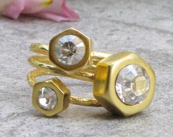 Statement Ring, Set of 3 Stacking Rings, Swarovski Ring, Ring Set, Sparkling Ring, Boho Ring, Stackable Rings, Rings For Women, Women Gift