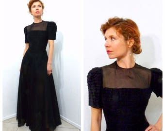 Vintage 1930s dress - F.O.G.A. Black S 30s sheer cotton Evening Gown