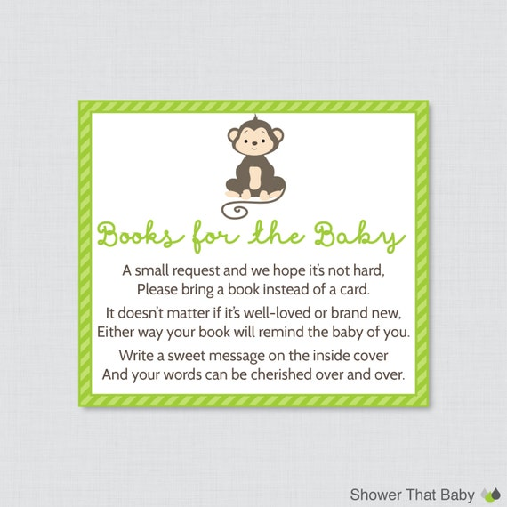 Monkey Baby Shower Bring A Book Instead Of A Card Invitation Inserts    Instant Download   Green Gender Neutral Baby Shower Invite   0009 G